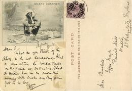 India, Native Snake Charmer At Work (1901) Court Card - India