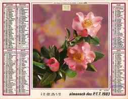 °° Calendrier Almanach PTT 1983 Oller - Dépt 13 - Fleurs Camélias Et Gerberas - Calendriers