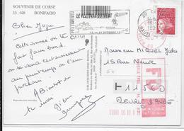 1997 - CARTE De CALVI (CORSE) => AUDE FAUSSE DIRECTION à ROUBAIX ! - Marcophilie (Lettres)