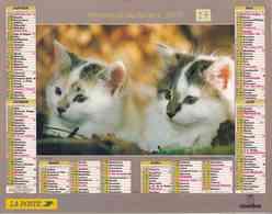 °° Calendrier Almanach La Poste 2001 Oberthur - Dépt 27 - Chats Et Chiens - Calendars