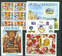 Lesotho Spain World Cup Christmas Raphael Wildebeest Cosmos Flower King Mosheshoe Scout Souvenir Sheet Block MNH A04s - Lesotho (1966-...)