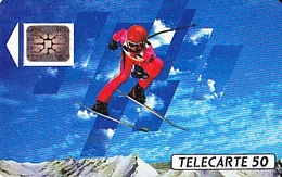 FRANCE  Télécarte   XVIème J.O. D' Hiver Ski Alpin   SC5 De 50 Unités De 12.1990 Tirage 500 000 Ex. - Olympische Spelen