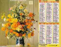 °° Calendrier Almanach La Poste 1994 Lavigne - Dépt 31 - Bouquets De Fleurs - Calendriers