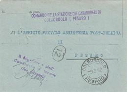 Colbordolo. 1952. Annullo Guller  COLBORDOLO (PESARO), Su Franchigia - 6. 1946-.. Repubblica