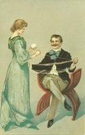 Marito E Moglie Che Avvolgono Rotolo (Gomitolo) Lana, Riproduzione, Reproduction, Stamp 75 Cent Belgique - Coppie