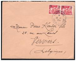 Gandon N° 968 En Paire Sur Lettre De TOURS Pour VERVIERS ( BELGIQUE ) Du 13.1.54. - France
