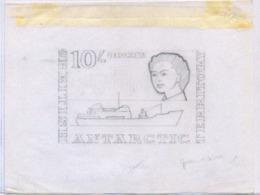 BRITISH ANTARCTIC TERRITORY (1963n) RRS Shackleton. Series Of 3 Pencil Sketches On Cartridge Paper. Scott No 14. - Territorio Antartico Britannico  (BAT)
