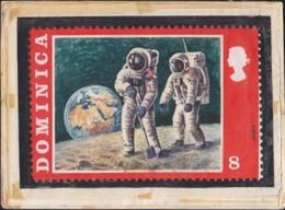 DOMINICA (1970) Astronauts Collecting Moon Rocks. Original Artwork For Apollo Program Series. Scott No 293. - Space