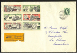 GREAT BRITAIN (1965) Locomotives. Registered Envelope With Block Of 6 Talyllyn Railway Letter Local Stamps. - Emissions Locales
