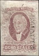 J) 1856 MEXICO, HIDALGO, 8 REALES PURPLE, SAN LUIS POTOSI DISTRICT, JUMBO MARGINS, NO CANCELLATION, MN - Mexico