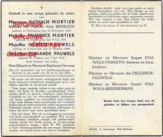 Oorlog Guerre Familie Mortier Pauwels Gesneuveld Bombardement KORTRIJK 21 JULI 1944 Lichtervelde Zandvoorde Oudenburg - Images Religieuses