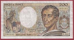 """200 Francs """"Montesquieu"""" 1987 ---VF/SUP----ALPH.X.45--AUCUN TROU D EPINGLE - 1962-1997 ''Francs''"""