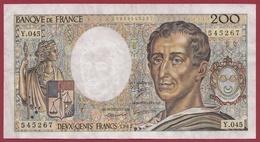 """200 Francs """"Montesquieu"""" 1987 ---VF/SUP----ALPH.Y.45--AUCUN TROU D EPINGLE - 1962-1997 ''Francs''"""