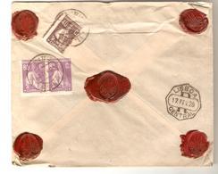 PR6590/ Portugal Registered Cover Sealed Abrantes 1925 Via Lisboa To Arlon Belgium - 1910-... República