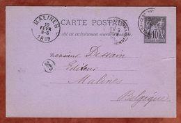 P 8 Allegorie, Clermont-Ferrand Nach Malines 1889 (75653) - Postal Stamped Stationery
