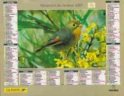 °° Calendrier Almanach La Poste 2001 Oberthur - Dépt 34 - Rossignol Et Cygnes - Calendars