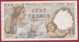 "100 Francs ""Sully"" Du 20/11/1941.SA.--F/TTB+---ALPH-S.26305-AUCUN TROU D EPINGLE - 1871-1952 Circulated During XXth"