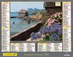 °° Calendrier Almanach La Poste 2004 Oberthur - Dépt 39 - Moulin à Marées Et Moulin à Vent - Calendars