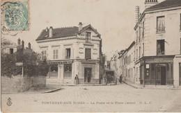Fontenay-aux-Roses  92   La Poste Et La Place Carnot Et Rue Animée-Attelage Charette Et Café-Restaurant - Fontenay Aux Roses