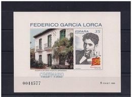 PRUEBA OFICIAL Nº 65 (CAT.EDIFIL) DE CORREOS DE ESPAÑA - CENTENARIO ESCRITOR FEDERICO GARCIA LORCA - COSTÓ 6 EUROS 1998 - Escritores