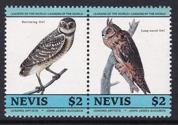 2 TIMBRES NEUFS DE NEVIS - OISEAUX DE J.-J. AUDUBON (RAPACES NOCTURNES) N° Y&T 277/278 - Hiboux & Chouettes