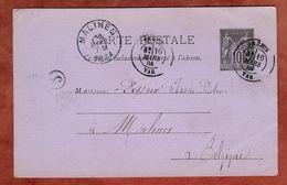 P 8 Allegorie, Frejus Nach Malines 1884 (75662) - Postal Stamped Stationery