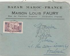 Maroc Yvert 126 Seul Sur Lettre Entête Louis Faury Bazar OUDJDA 10/8/1931 à Toulouse Haute Garonne - Lettres & Documents