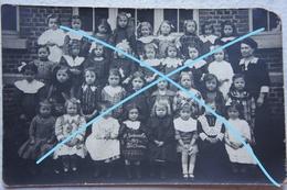 Photo GODARVILLE Trazegnies CPhoto De Classe Ecole Des Filles 1913 Enseignement School Hainaut - Orte