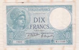 10 Francs Minerve 30 – 1 -1925. Alphabet M. 17598 N° 760 - 1871-1952 Antichi Franchi Circolanti Nel XX Secolo