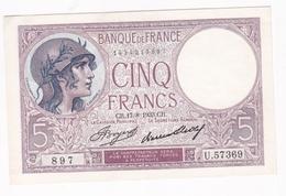 5 Francs Violet 17 – 8 – 1933. Alphabet : U.57369 N° 897 , Billet Neuf. - 1871-1952 Anciens Francs Circulés Au XXème