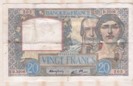 20 Francs Science Et Travail 20 – 2 – 1941.  Alphabet D.3206 N° 505 - 1871-1952 Antichi Franchi Circolanti Nel XX Secolo