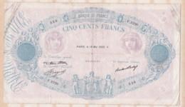 500 Francs Bleu Et Rose 18 Mai 1933 Alphabet F.2220 N°536 - 1871-1952 Antichi Franchi Circolanti Nel XX Secolo