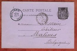 P 8 Allegorie, Tarascon Nach Malines 1884 (75668) - Postal Stamped Stationery