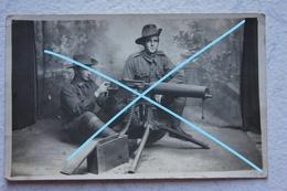 Photo Mitrailleuse Soldats Australian 1914 18 Machnie Gun MAXIM WW1 Autralian Soldier - Krieg, Militär
