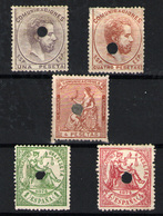 España  Nº 150T, 151T, 127T/28T, 139T. Año 1872/4 - 1872-73 Reino: Amadeo I