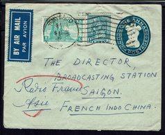 Inde - 1952 - Enveloppe One Annas + Compl. 9 AS. De Thycaud Pour Saigon Radio France Asie - B/TB - - Omslagen
