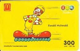 THAILAND - Ronald McDonald, 1 2 Call Prepaid Card 300 Baht, Exp.date 12/05, Used - Advertising
