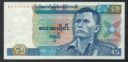 Burma 45 Kyat 1987 UNC Staple Holes - Myanmar