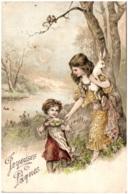 Joyeuses Pâques - Enfants Avec Lapin - Carte Gaufrée - Pasen