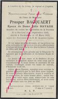 En 1933 Terdeghem-Prosper BACQUAERT ép Zélie Savage Né En 1868 à Bailleul-membre  Confréries De La Paroisse - Décès