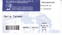 Moldova , Moldavie , Chisinau ,  The Theater  Ticket ,  The Theater Mihai Eminescu , 2018 , Used - Tickets - Vouchers