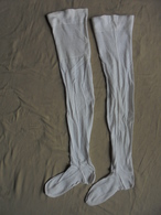 Ancien - Paire De Bas En Coton Blanc - Tights & Stockings