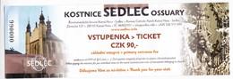 Tcheque , Czech Republic , Kutna Hora , UNESCO , Cathedrale  Ticket , 2018 , Used - Visitekaartjes