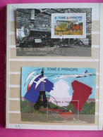 Album Bloc Timbres - Trains - Locomotives - S. TOME E PRINCIPE - CUBA - DPR KOREA - BENIN - LIBERIA - GUYANA - Timbres