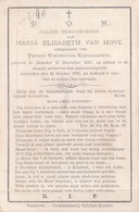 Doodsprentje Maria Elisabeth Van Hove (x Raeymaekers ) ° Dessel Desschel 1818 -1875 - Images Religieuses