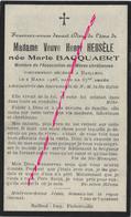 En 1928-Bailleul (59) Mme Henri HEUSELE Née Marie BACQUAERT- Association Des Mères Chrétiennes - Décès