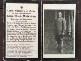 Sterbebild Wk1 Bidprentje Wo1 Avis Décès Deathcard IR16 BRINELLE Bei BRAISNE 22. Juli 1918 Aus Baumgarten - 1914-18