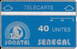 CARTE-HOLOGRAPHIQUE-SENEGAL-40U-SONATEL-V°N° Envers-N°905A03886-R° Bandes Argent/H0,5mm-B 1mm -UTILISE-TBE - Sénégal