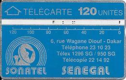 CARTE-HOLOGRAPHIQUE-SENEGAL-120U-SONATEL-V°N° Envers-N°012A17020-R° Bandes Argent/H0,5mm-B 0,50 Mm -UTILISE-TBE - Sénégal