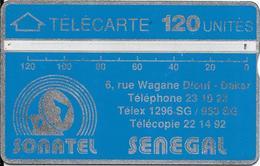 CARTE-HOLOGRAPHIQUE-SENEGAL-120U-SONATEL-V°N° Envers-N°001A30506-R° Bandes Argent/H0,5mm-B 0,50 Mm -UTILISE-TBE - Senegal